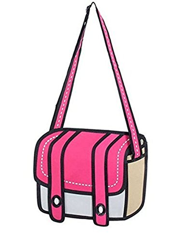 Genius_Baby 3D Style 2D Drawing Cartoon Bag Comic 3D Messenger Bag (rose Red)