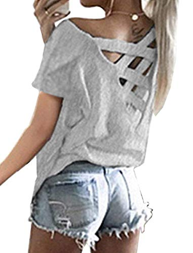 Women's Large V Cut Out Back Cap Sleeves Blouses Tops Criss Cross T Shirts Gray S