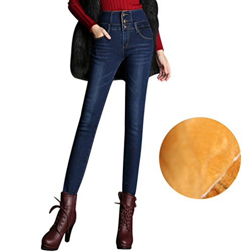 Jeans Skinny Donna Caldo Pantaloni Blu Denim Jeggings A Scuro Foderati Vita Jitong Alta In TqCxwS5U4