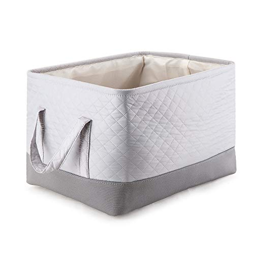 MEÉLIFE Storage Basket Foldable Cotton Fabric Tweed Storage Boxes with Handles, for Organizing Closets Clothes Nursery(L)