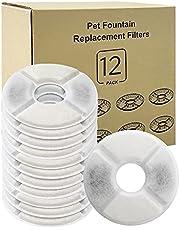Simpeak Kattenfonteinfilters [12 stuks], vervangende filters voor drinkfonteinen voor katten en honden, vervangende filters voor kattenfonteinen bevatten actieve kool- en ionenuitwisseling, rond