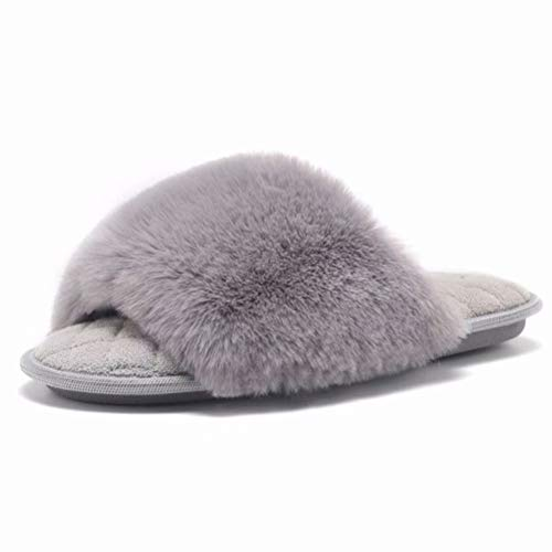 (SEMARY Womens Memory Foam House Slippers Faux Bunny Fur Sandals Slides Soft Flat Comfy Anti-Slip Cute Fuzzy Slippers Outdoor and Indoor Grey)