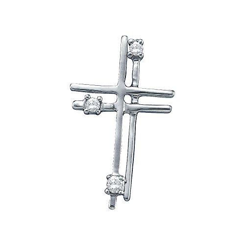 Diamond 14kt Gold Cross Necklace (14kt White Gold Womens Round Diamond Layered Cross Religious Pendant 1/20 Cttw)
