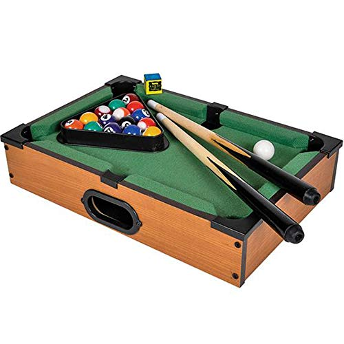 Gamie Tabletop Pool Game Set Wooden Portable Game with All Accessories Included - Great Gift Idea for Boys and Girls - Unique Desk Decoration - Fun for The Whole Family (The Level Best Floor Pool Cue Rack)