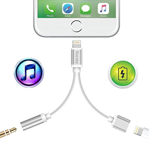 Silver 3.5 Mm Jack (Lightning adapter for iPhone 7 / 7 Plus, Verchy 2 in 1 Lightning to 3.5mm Headphone Jack Adapter audio / Charging cable(iOS 10.3)-Silver)