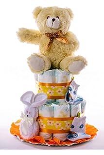 Tarta de pañales DODOT. Un regalo original para el bebé recién nacido incluyendo peluche,…
