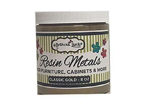 - Rethunk Junk by Laura Resin Metals Paint for Furniture, Cabinets & More (8 oz, Classic Gold)