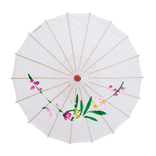 THY COLLECTIBLES 22 Kids Size Japanese Chinese Umbrella Parasol For Wedding Parties, Photography, Costumes, Cosplay, Decoration And Other Events (White)
