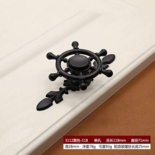 Zinc Alloy Fingertip Gyro Handle Wardrobe Drawer Cabinet Door Rotation Art Single Hole 3112 Black-118