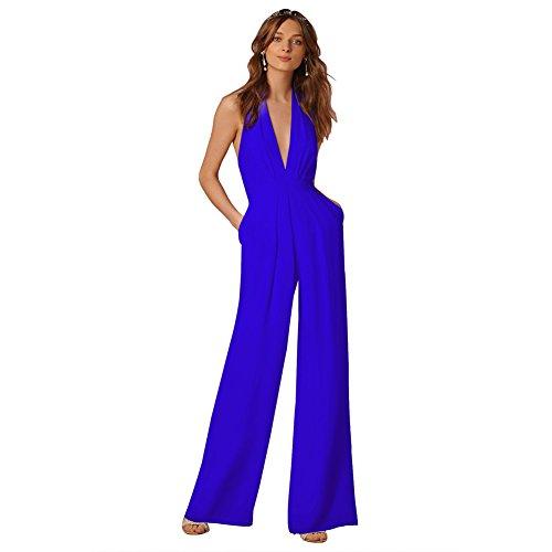 Lielisks Sexy Jumpsuits Formal Sleeveless V-neck Halter Wide Leg Long Pants Blue (Women's Leisure Suits)