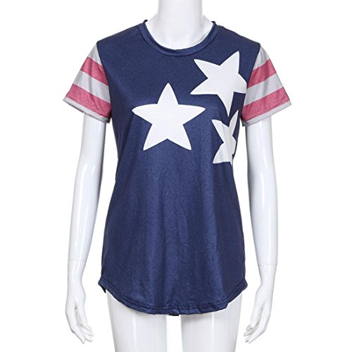 Makeupstore2018 New Hot Women T-Shirt,Casual Patriotic American Flag Star Printed Short Sleeved Blouse Tops (XXL) by Makeupstore (Image #1)