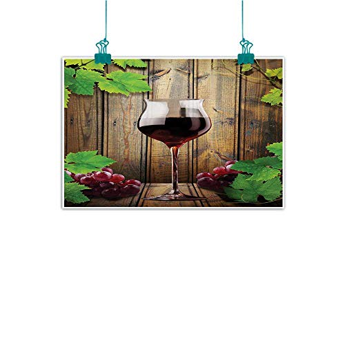 Warm Family Winery Living Room Decorative Painting Wine Glasses and Grapes Rustic Wood Planks Alcoholic Drink Gourmet Taste Modern Minimalist Atmosphere 47