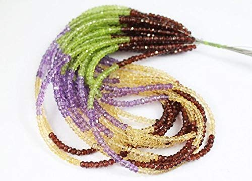 Multi Gemstone Amethyst Peridot Garnet Citrine Faceted Rondelle Micro Craft Beads Strand 14