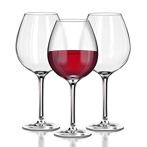 Unbreakable Red Wine/Pinot Noir glasses - 100% Tritan Dishwasher-safe, shatterproof plastic wine glasses - Smooth Rims -Set of 4 (22oz Stemmed Red) by TaZa