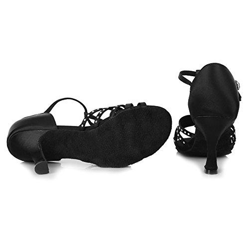 HROYL Zapatos de baile/Zapatos latinos de satén mujeres ES-4190 Negro