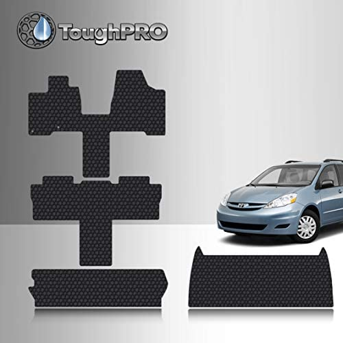 TOUGHPRO Floor Mat Accessories Full Set + Storage Compatible with Toyota Sienna (7 Seater) – All Weather – Heavy Duty – (Made in USA) – Black Rubber – 2004, 2005, 2006, 2007, 2008, 2009, 2010