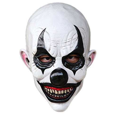 Waltz&F Halloween Clown Terrorist Masks Creepy Scary or Funny Bald Clown Latex Mask for Party or Cosplay