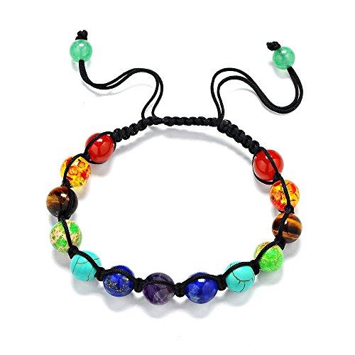 7 Chakra Reiki Healing Balance Natural Gemstone Round Beads Bracelet(YY01-3)