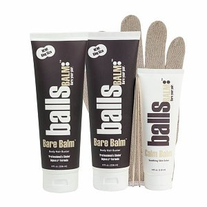 The Bare Pair 'Double Team' King Kombo - Body Hair Management System (w/ Exfoliating Glove) by ballsBALM