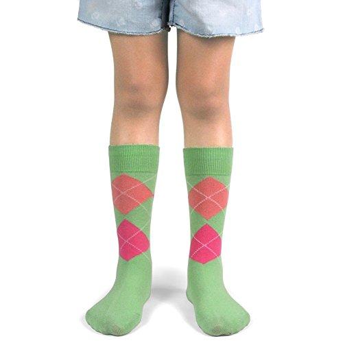 Spotlight Hosiery Junior's Argyle Dress Socks,Mint(Apple Green), Bright Pink, Peach