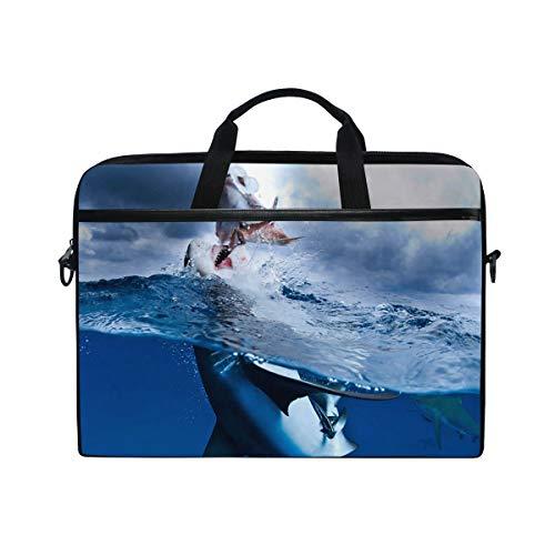 IMOBABY Caribbean Reef Shark Diving Laptop Bag Canvas Messenger Shoulder Bag Briefcase Fits 15-15.4 inch