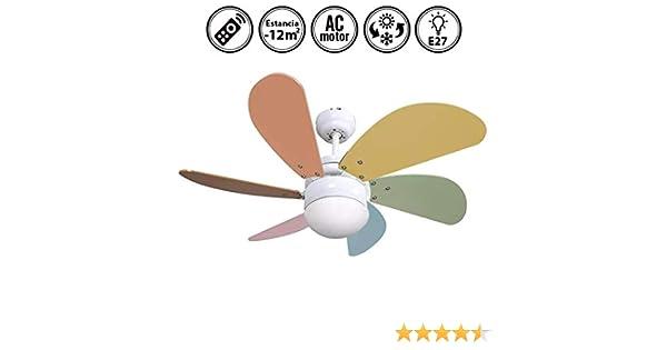 FABRILAMP Ventilador de Techo con luz y Mando a Distancia Serie Delfín Colores Pastel: Amazon.es: Hogar