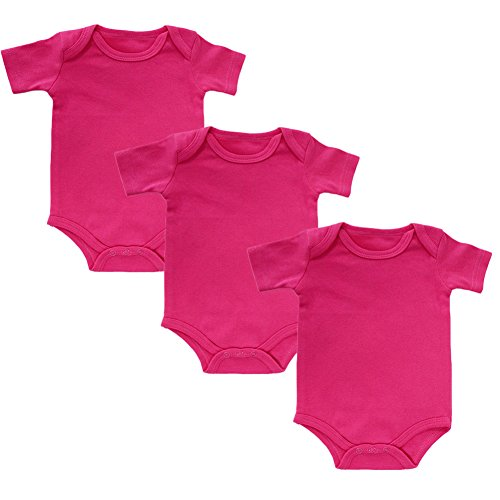 Infant Onesies Newborn Baby Girls Short Sleeve Bodysuit Set of 3 (Rose-red,6M)