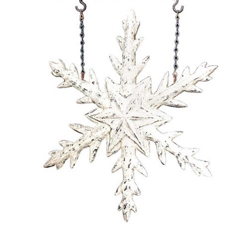 Snowflake Arrow (Antiqued White Snowflake Hanging Winter Replacement Plaque for Arrow Holder by K&K Interiors)
