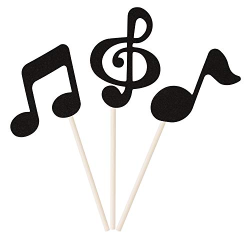 Donoter 48 Pcs Black Glitter Music Notes Cupcake Toppers Musical Symbols Cake Picks for Kids Birthday Party Food -