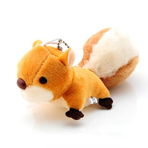 Smilesky Stuffed Squirrel Plush Keychain Pendant Bag Ornaments Backpack Clips Toys Brown