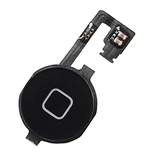 Johncase Home Button Flex Ribbon Cable Assembly w/Rubber Gasket Replacement Part Compatible iPhone 4s (Black) (Cable 4s Replacement Iphone)