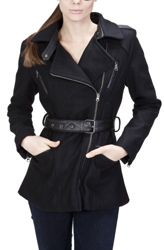 United Face Black Leather Trimmed Military Wool Coat X-Small Black