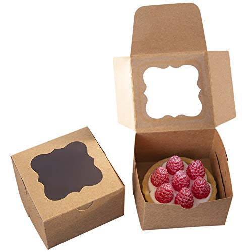 25 Pack Brown Bakery Box with Window 4x4x2.5 inch Eco-Friendly Paper Board Cardboard Gift Packaging Boxes for Pastries, Cookies, Small Cakes, Pie, Cupcakes (Brown, 25) ()