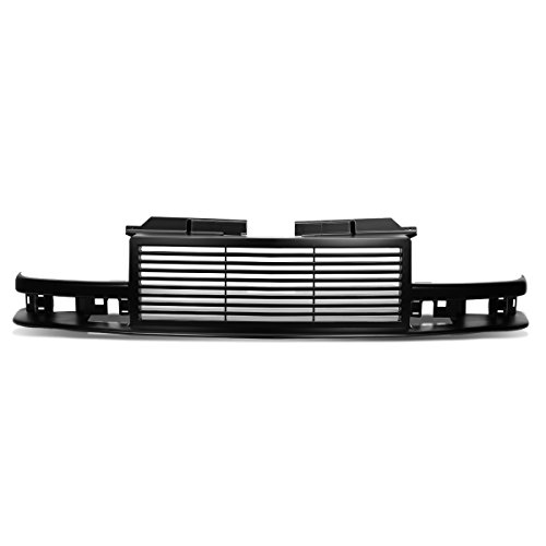 (For 98-04 Chevy S10/Blazer ABS Plastic Horizontal Front Bumper Grille (Black) - GMT325 GMT330)