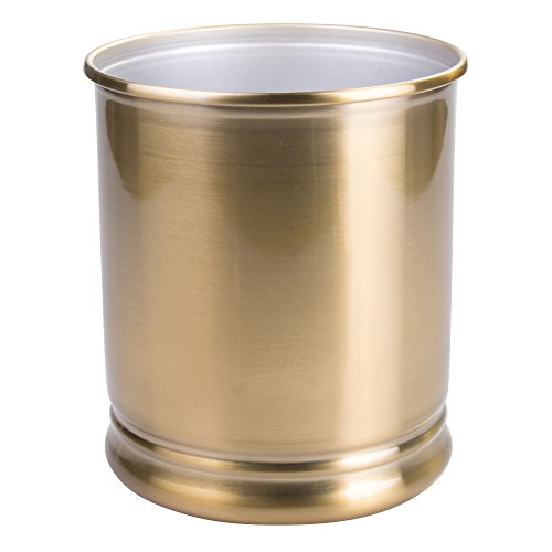 mDesign Round Metal Small Trash Can Wastebasket, Garbage Container Bin for Bathrooms, Powder Rooms, Kitchens, Home Offices - Durable Steel Construction with a Soft Brass Finish by mDesign
