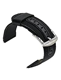 24mm Watch Bands, OTOPO Fashion Nylon Woven with PU Leather Wrist Band Bracelet Strap for Suunto Core Watch, Suunto TRAVERSE and other watches with 24mm lug Smartwatch (Black, 24mm)