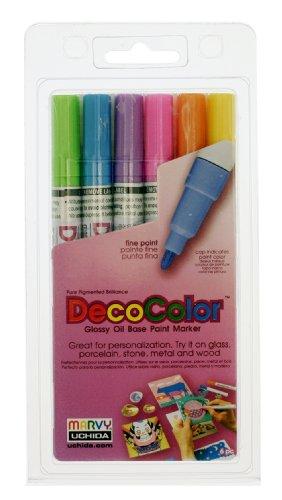 Uchida 200-6C 6-Piece Decocolor Fine Point Paint Marker -