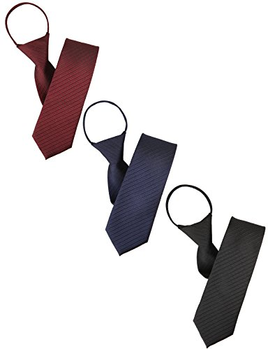H2H Mens Comfortable Zipper Various Patterned Neck Tie BLACK/RED/NAVY Asia NONE (KMANT075) ()