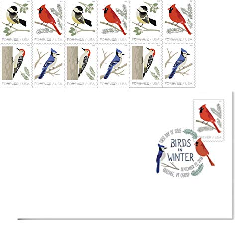 Covers First Stamp Day Collecting (Birds in Winter 2018 Forever Stamps by USPS (1 Booklet + Randomly Selected Official First Day Covers))