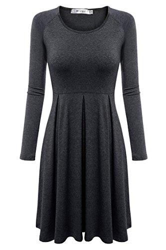Meaneor Women Long Sleeve Casual Scoop Neck Raglan Sleeve Pleat Flare Tunic Top Dark Gray