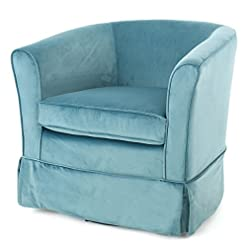Living Room Christopher Knight Home Cecilia Swivel Chair with Loose Cover, Blue Velvet