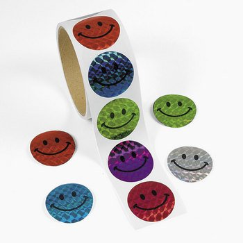 Fun Express 100 Halographic Smiley Face Stickers ()