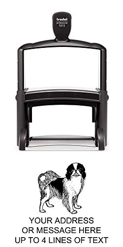 Japanese Chin Dog Rubber Stamp - Giant Heavy Duty Self-Inking - 2.7 inches (70mm) Tall Image Area - Select from Several Sizes - Can be Customized with Text - Green Ink
