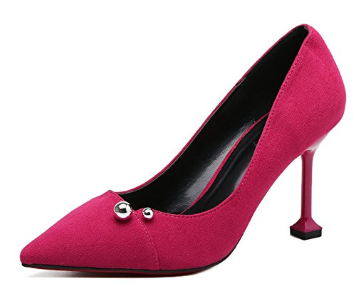 Low Women's Pumps Red Shoes Rose Slip Cut On Aisun Court Trendy xqIHdYTwT