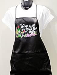 Two Pocket Poly Cotton Blend Apron With Rhinestones