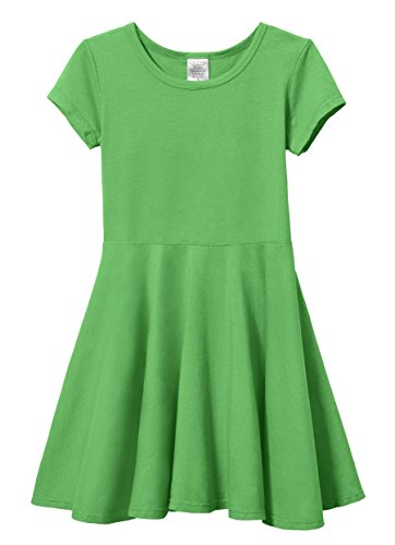 City Threads Big Girls' Short Sleeve Twirly Circle Party Dress Perfect For Sensitive Skin/SPD/Sensory Friendly For School or Play Fall/Spring, Elf, 7]()