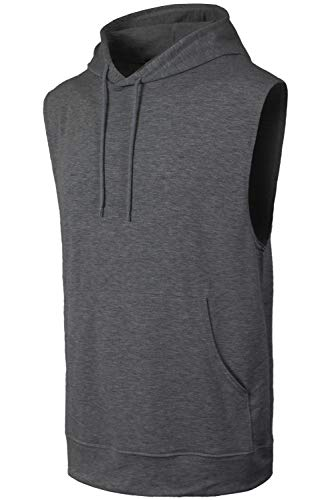 JC DISTRO Mens Hipster Hip Hop Active Lightweight Sleeveless Charcoal Hoodie X-Large