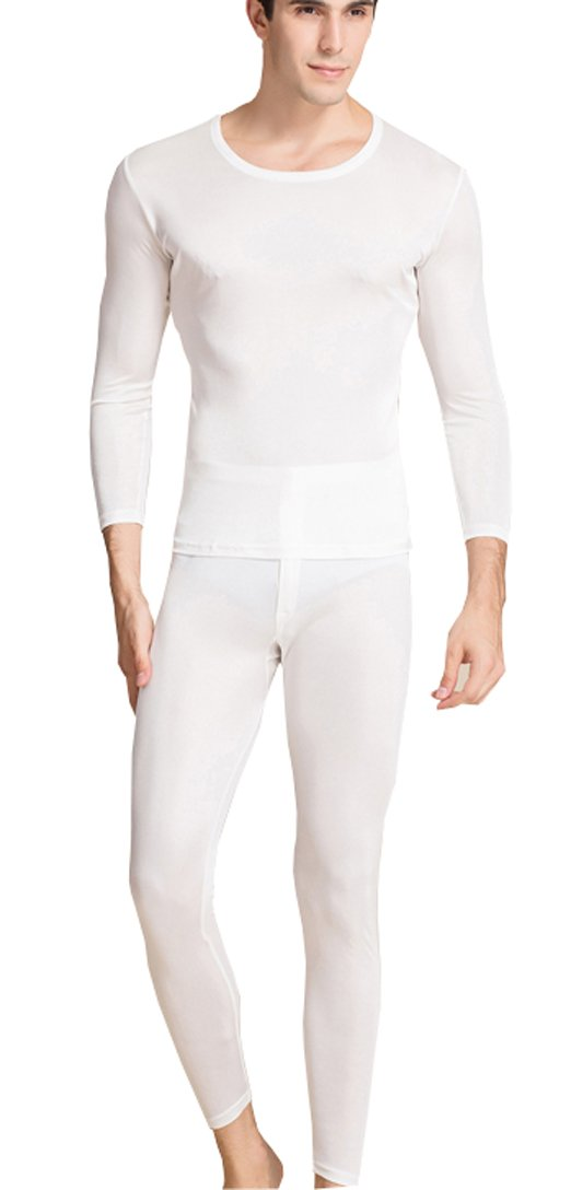 METWAY Silk Long Underwear Men's Silk Long Johns|2pc Thermal Underwear Set Lager White by METWAY