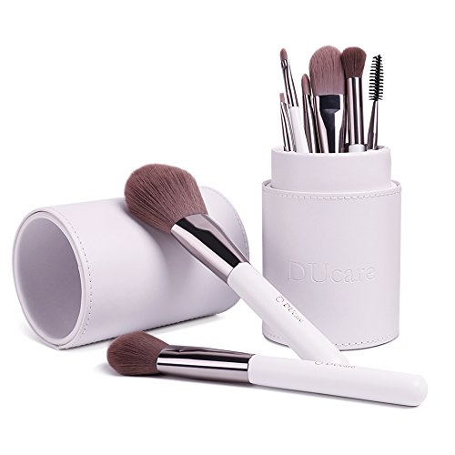 DUcare 8 Piece Makeup Brush Set Christmas Gift Synthetic Hair for Sensitive Skin with White Holder