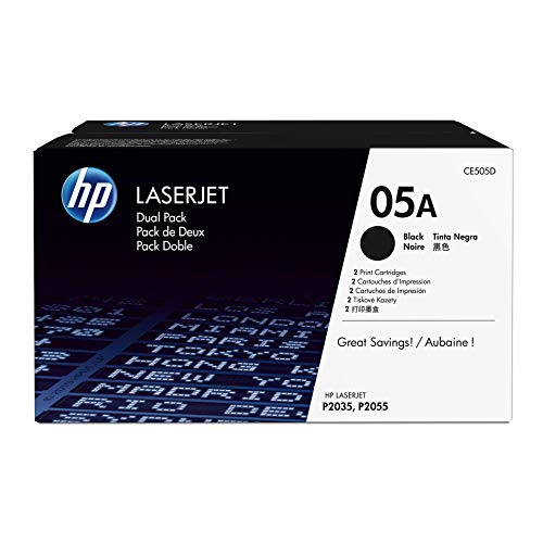HP 05A (CE505A) Black Toner Cartridge, 2 Toner Cartridges (CE505D) for HP LaserJet P2055 P2055d P2055dn P2055x